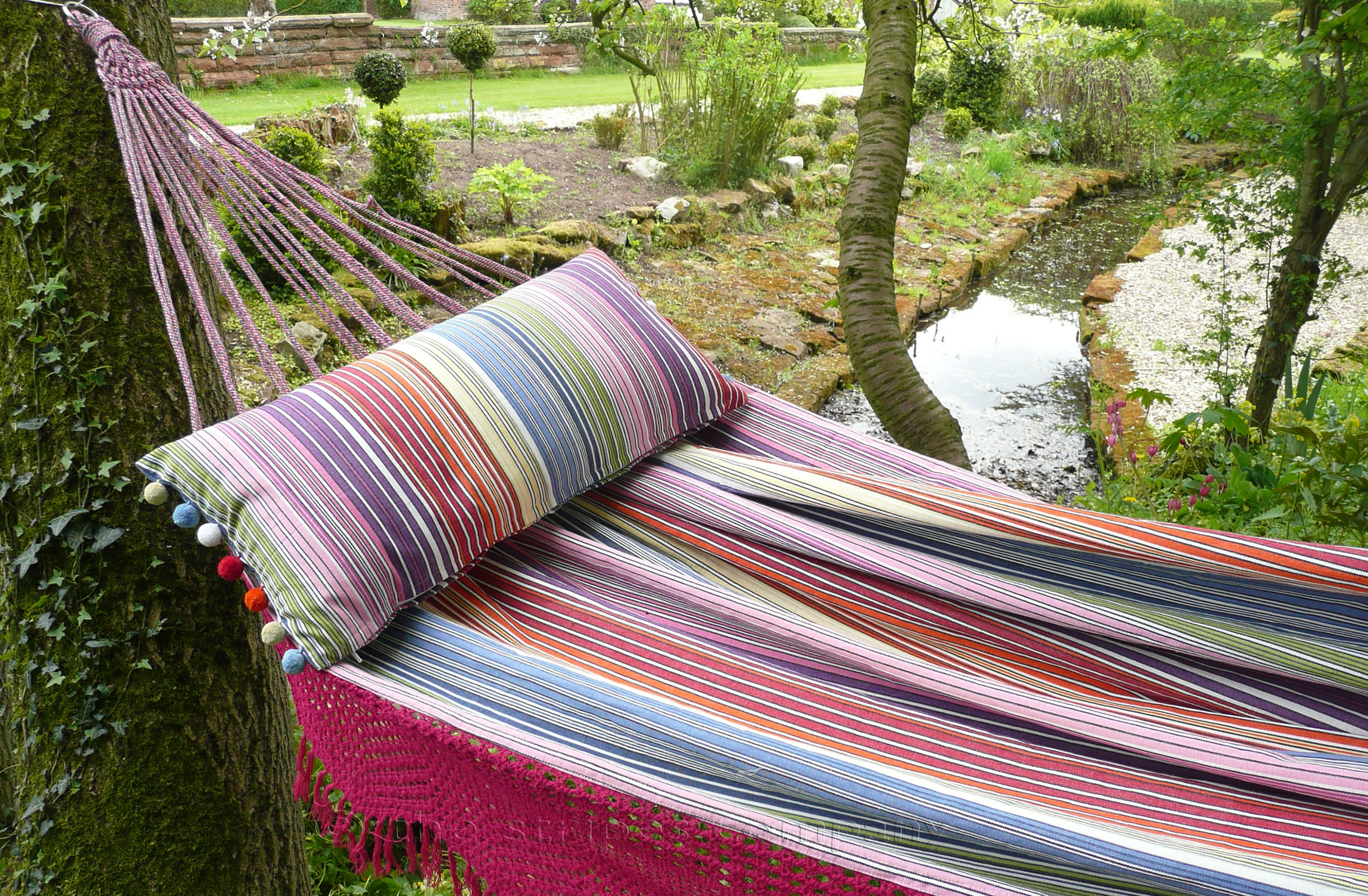 Pink Fringed Hammocks | Striped Hammocks with Fringe - Rhumba Stripes