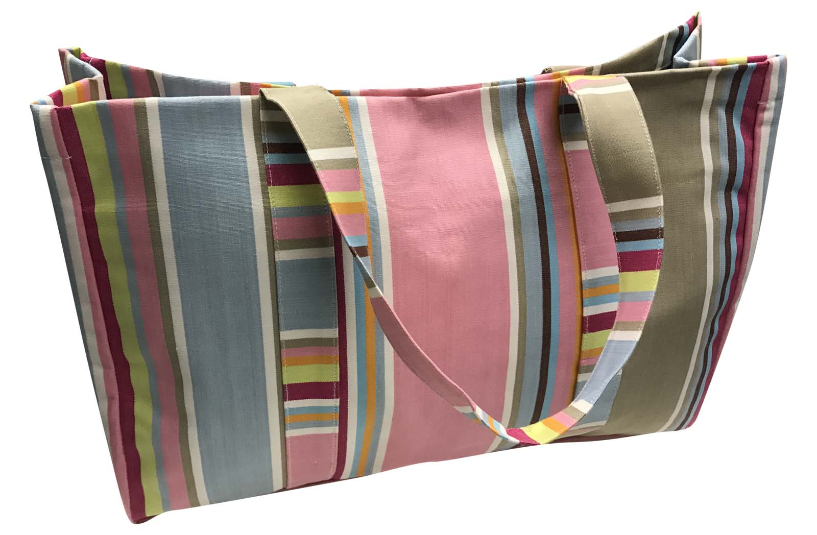 Pink and Taupe Stripe Large Beach Bag