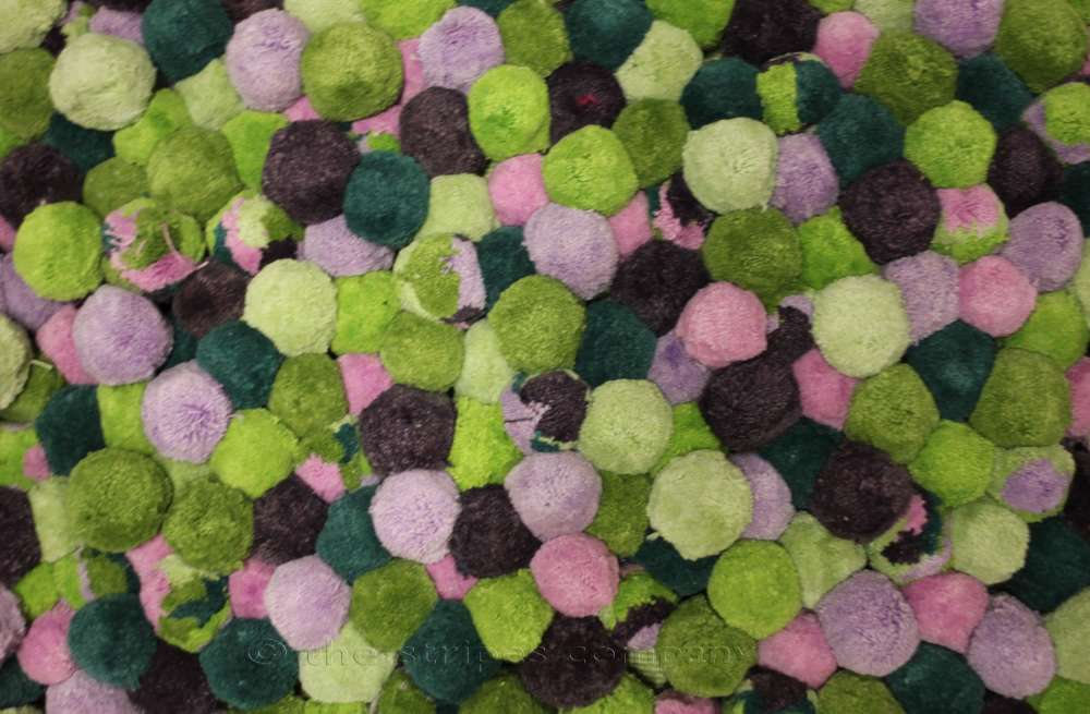 Green, purple and pink Bobble Fringe | Multicolour Pompoms