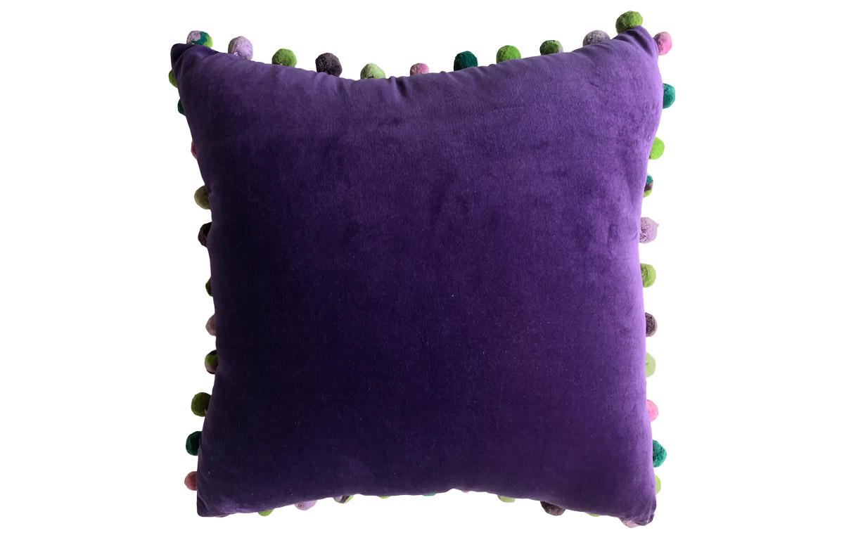 Purple Velvet Pompom Cushion 50x50cm