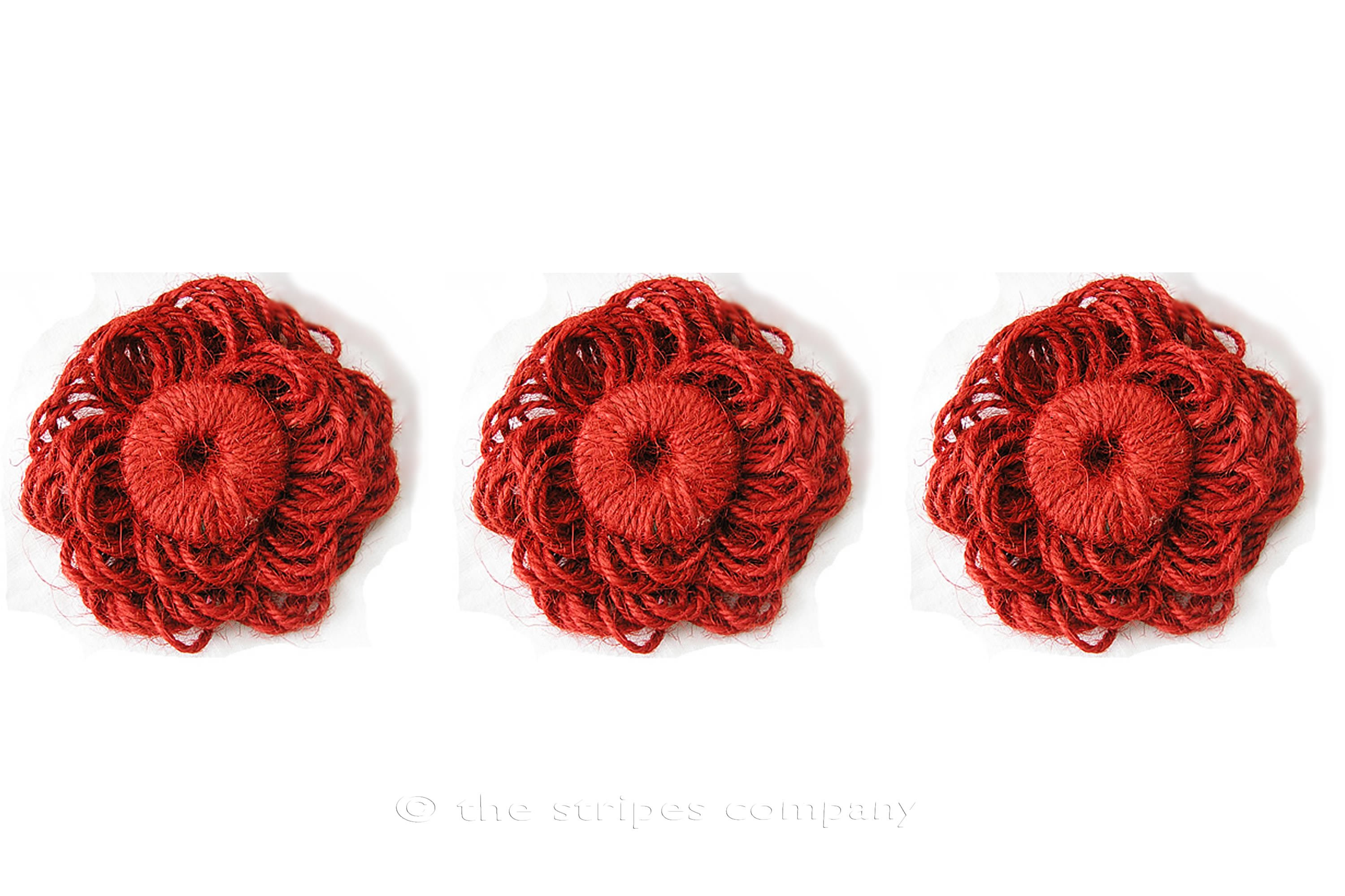 Red Jute Flower Rosettes - Fabric Flowers - Fabric Rosettes Red