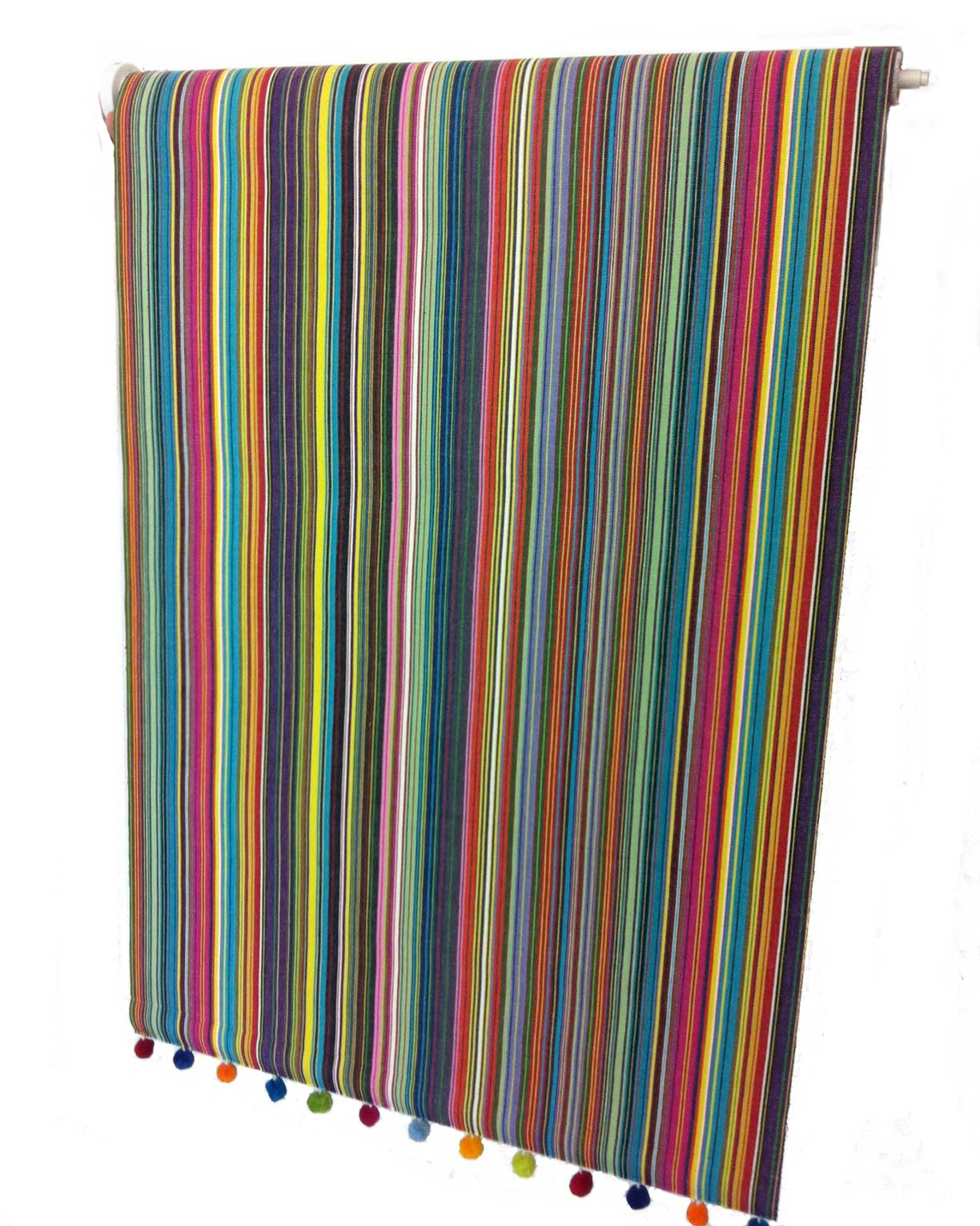 striped roller blind with bobble fringe