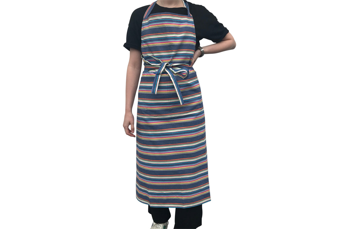Navy Blue Striped Cotton Aprons with Rainbow Coloured Stripes