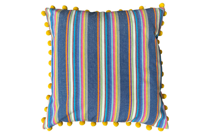 Navy Blue with Rainbow Colour Striped Pompom Cushions 50x50cm