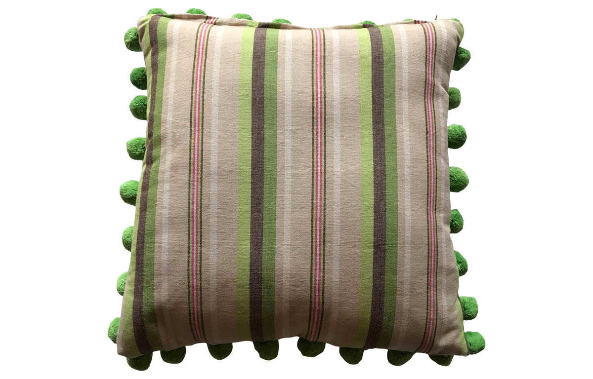 Green, Pale Green and Beige Stripe Pompom Cushion 50x50cm