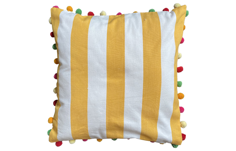 Yellow and White Striped Pompom Cushions 50x50cm