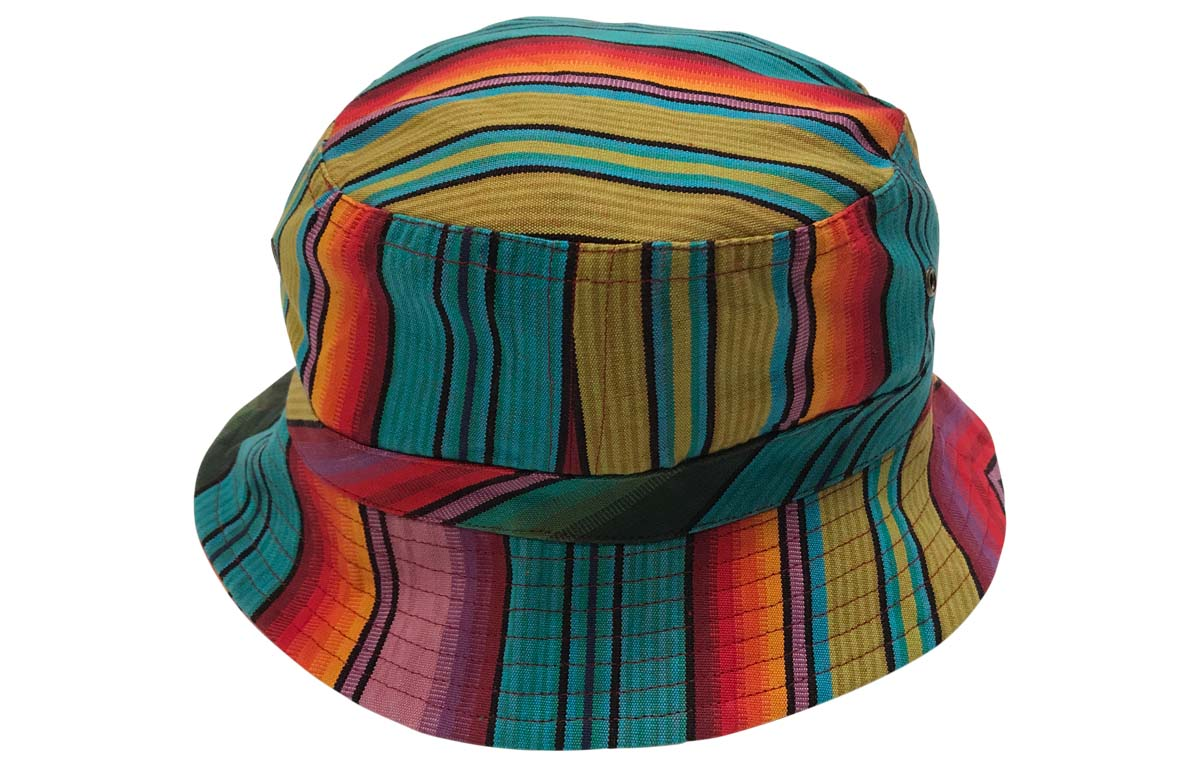 blue, green, orange - Striped Bucket Hats - Stripe Sun Hat