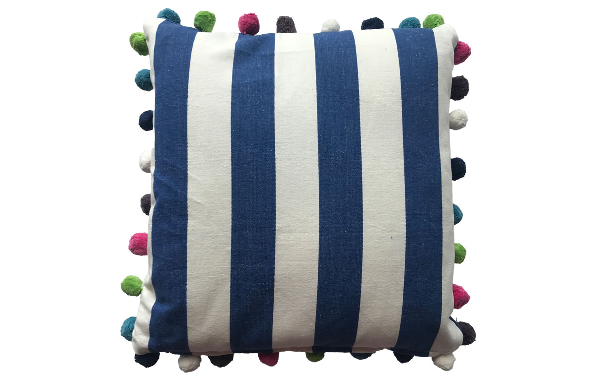 Striped Pompom Cushions 50x50 blue and white