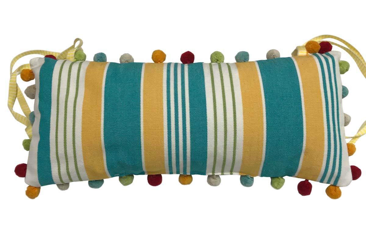 Deckchair Headrest Cushions | Tie on Pompom Headrest Pillow White, turquoise, yellow