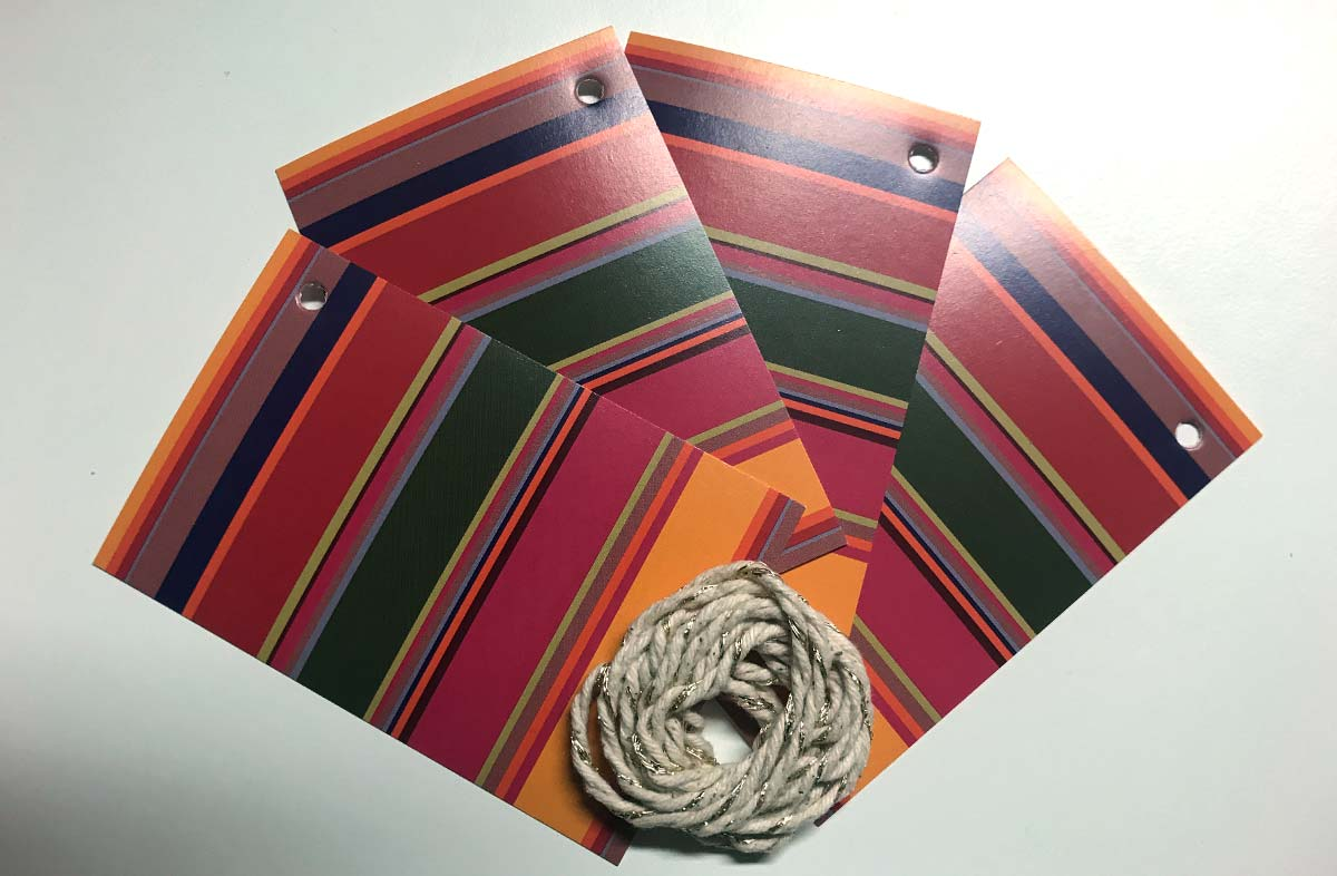 Holiday Stripe Gift Tags from The Stripes Company pink, green, gold