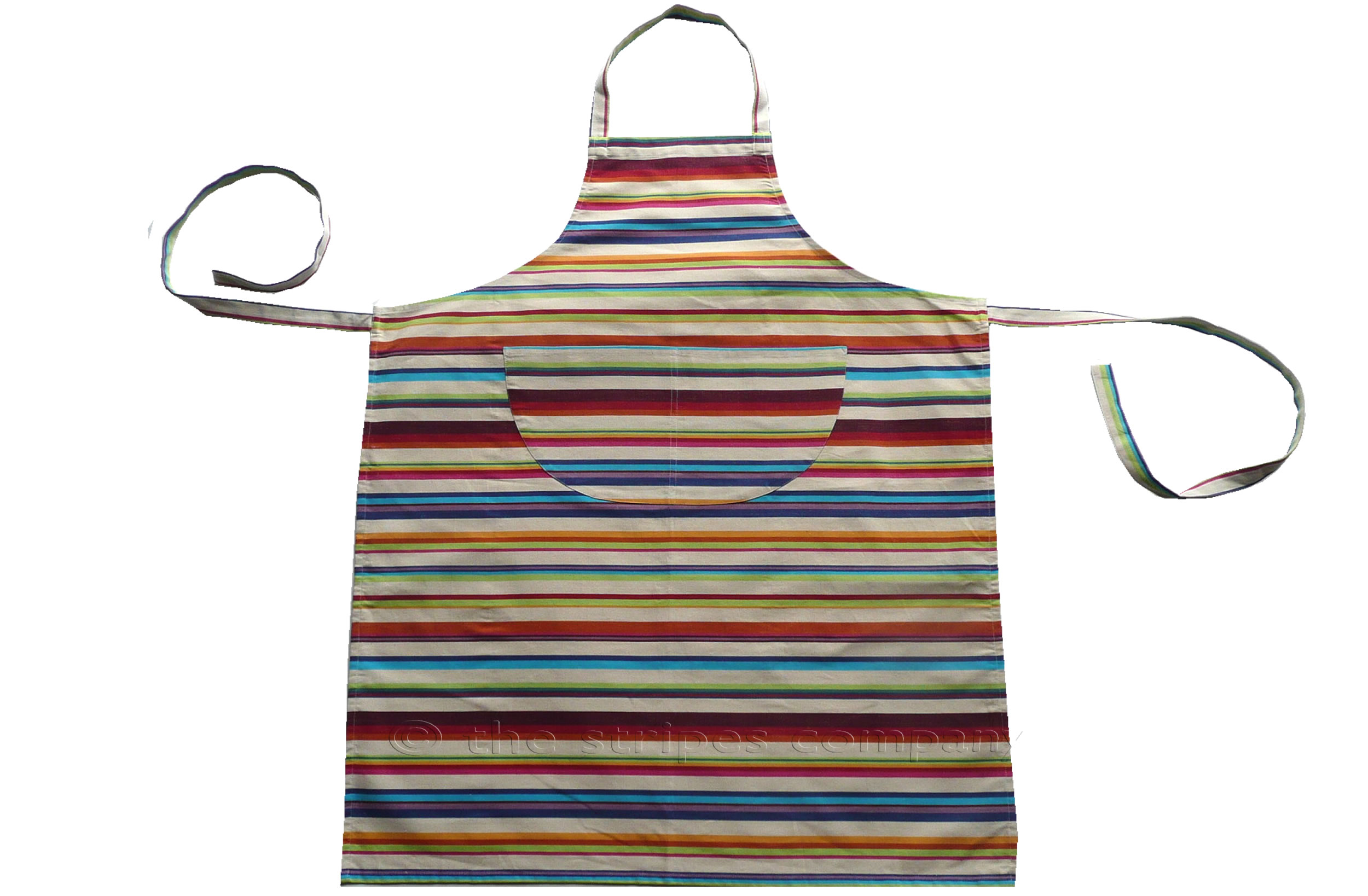 cream, brown, terracotta, green - Striped Cotton Aprons