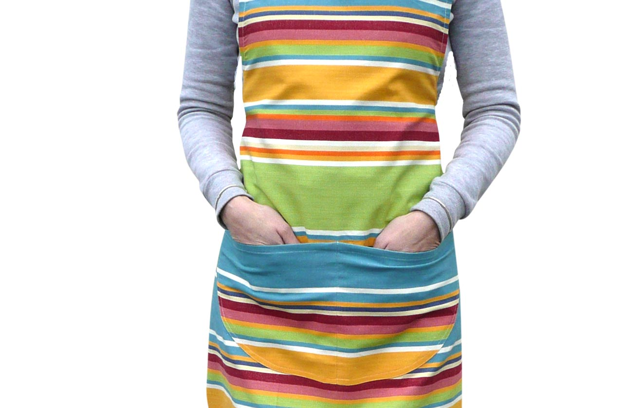 Yellow, green, blue - Striped Cotton Aprons