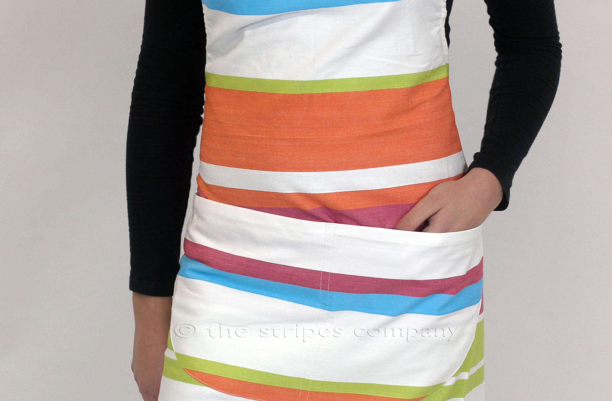 white, turquoise, orange - Striped Cotton Aprons