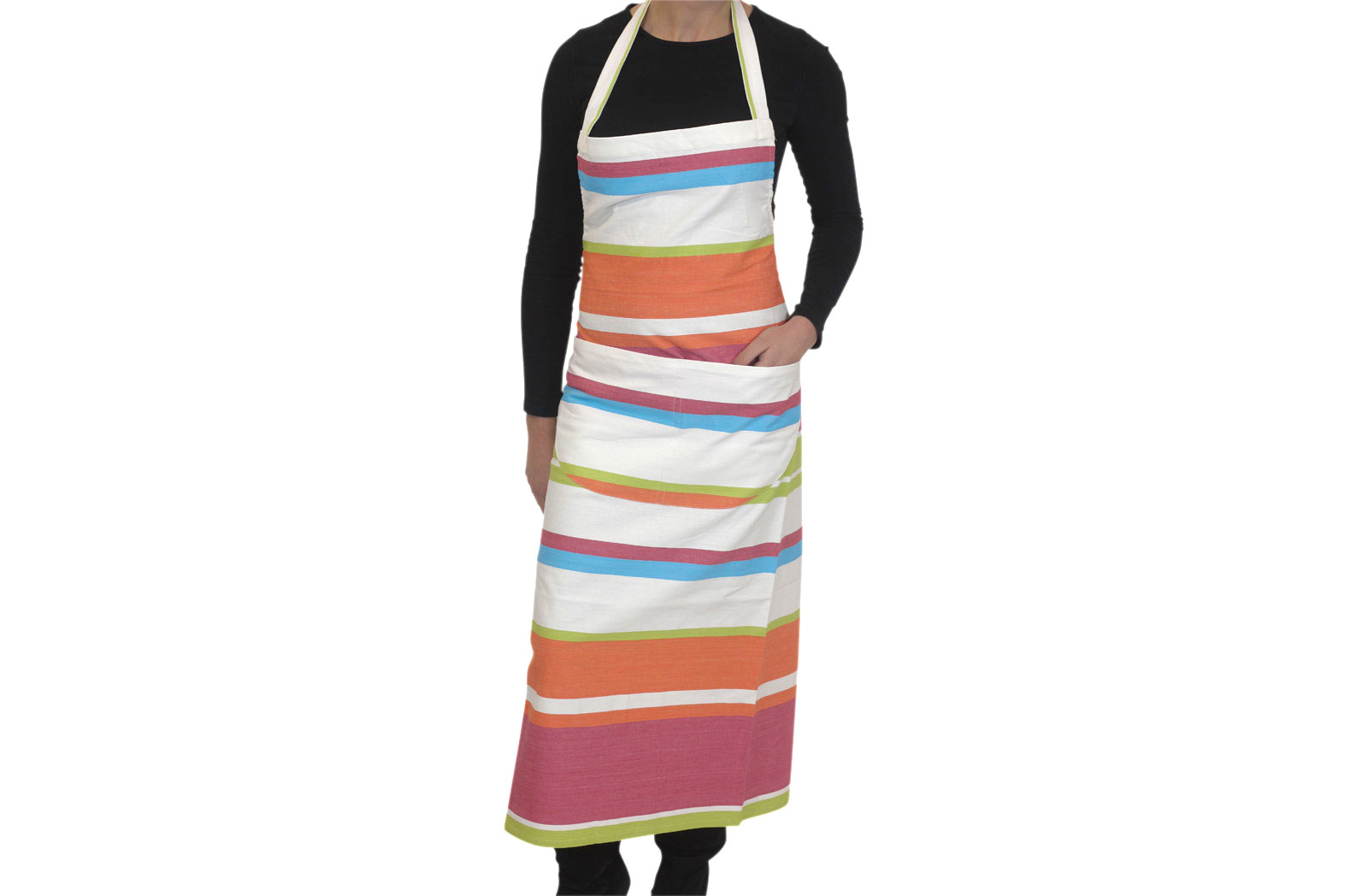 White Striped Aprons - Croquet Stripes