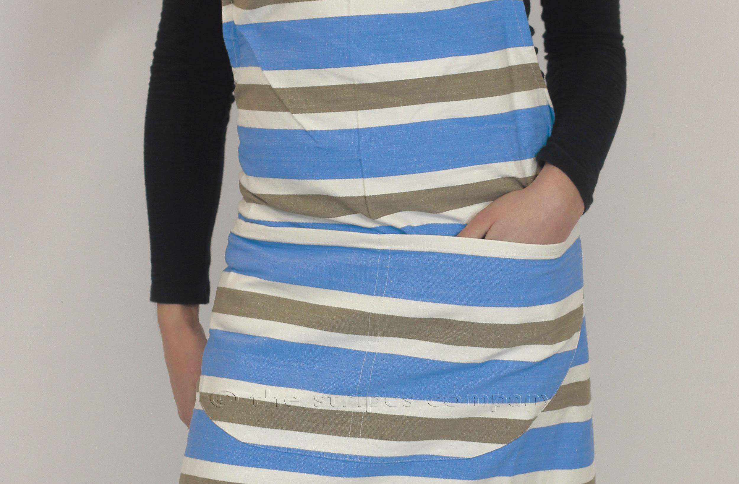 sky blue, beige, white- Striped Cotton Aprons
