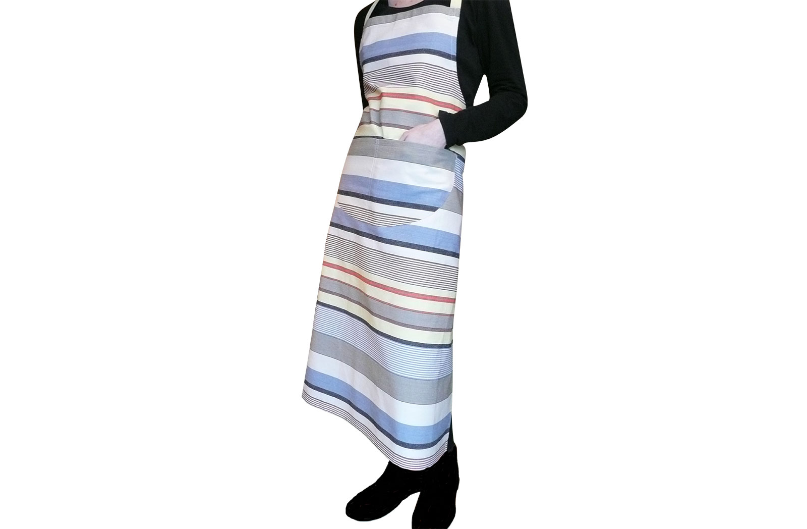 Stylish Aprons  in denim blue, oyster beige, light grey stripes