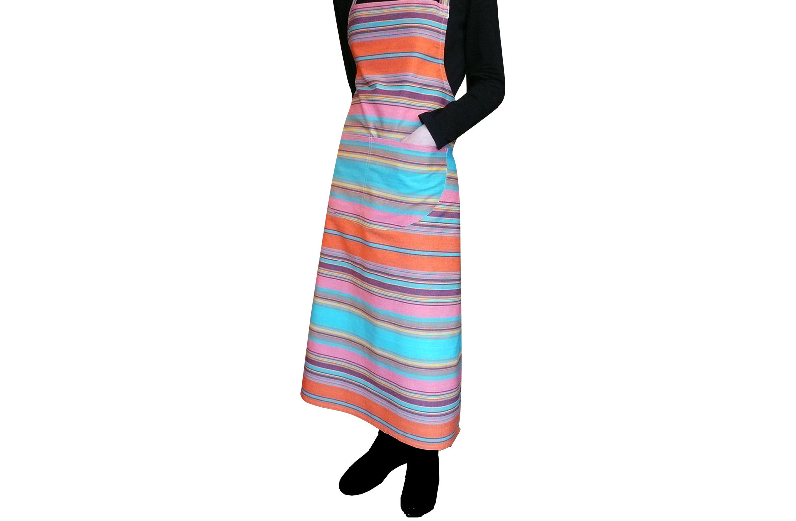 Turquoise Striped Aprons Turquoise  Salmon Pink  Tangerine  Stripes
