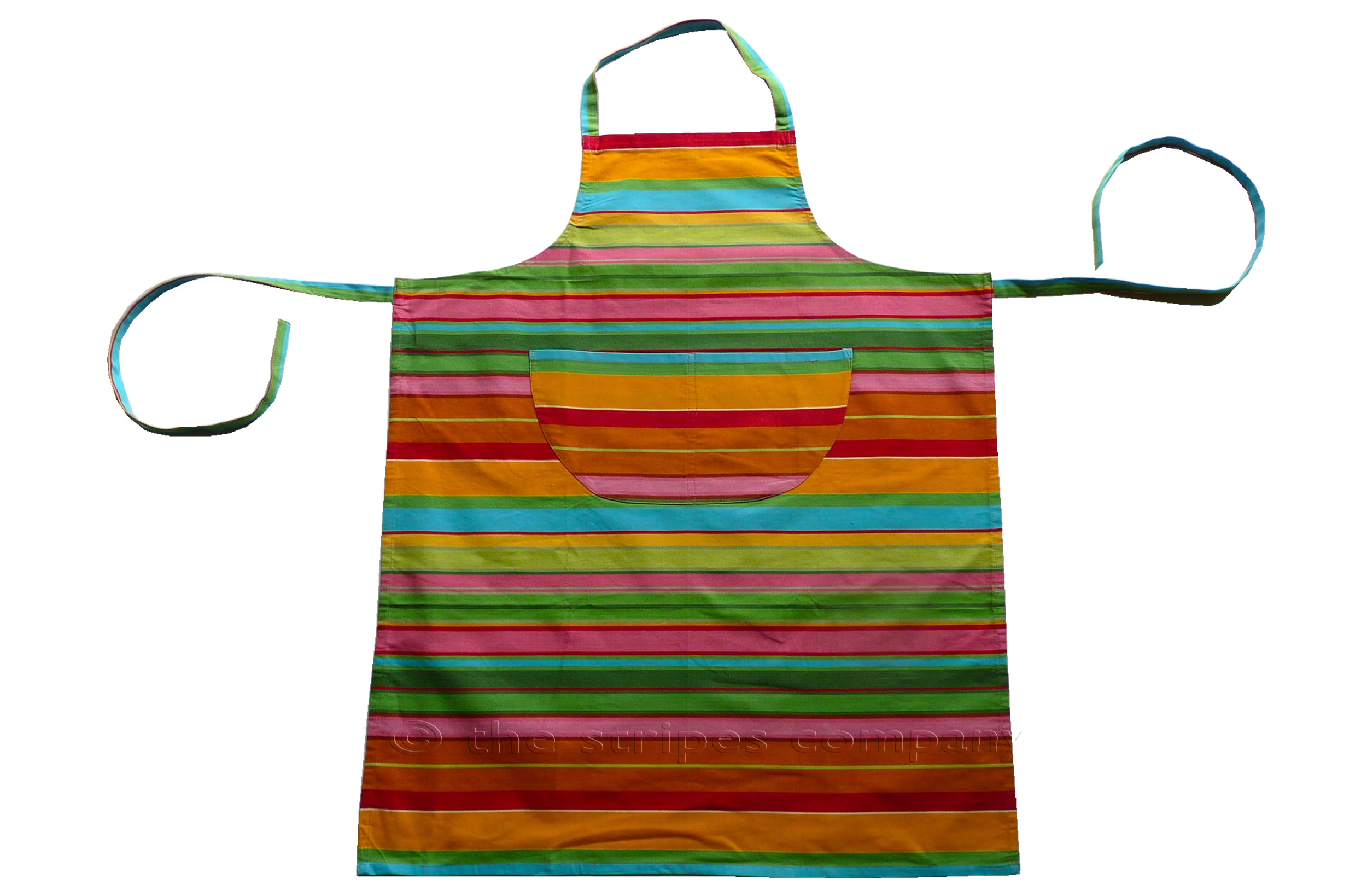 pink, green, turquoise - Striped Cotton Aprons