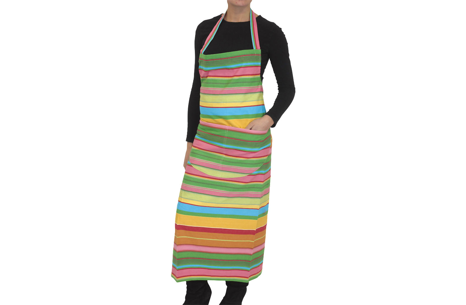 Pink, Green, Turquoise Striped Apron from The Stripes Company