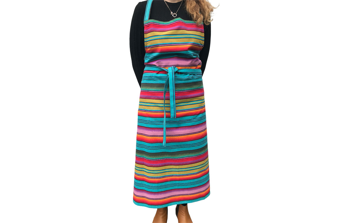 Multi Striped Aprons Turquoise Blue Green Orange Stripes