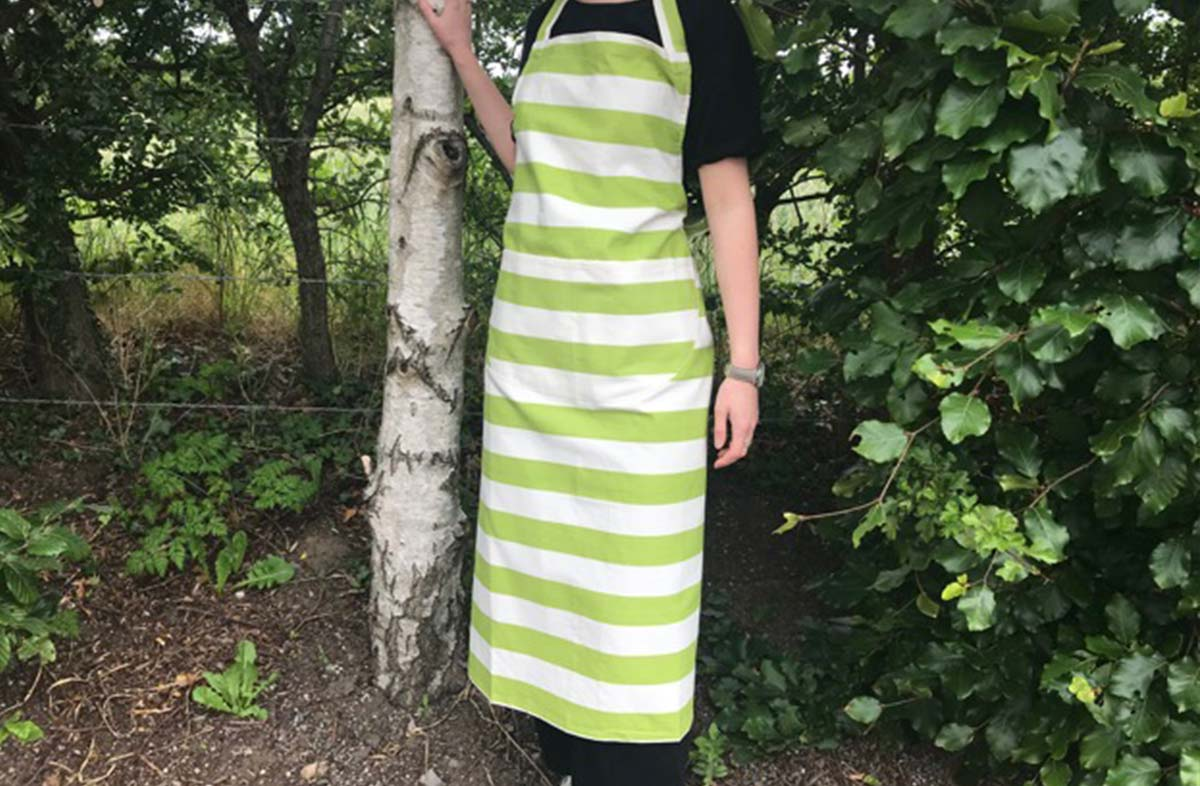 Lime Green and White Striped Cotton Aprons