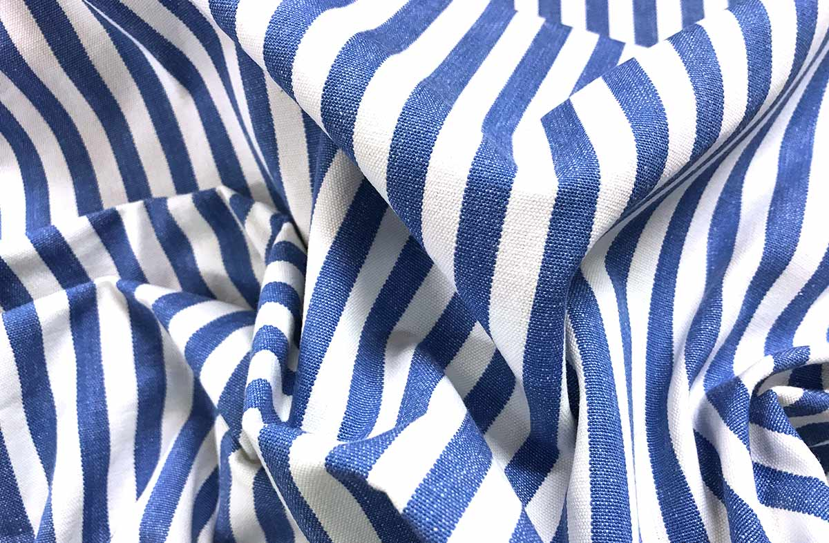Cotton Fabric with thin Blue and White Stripes