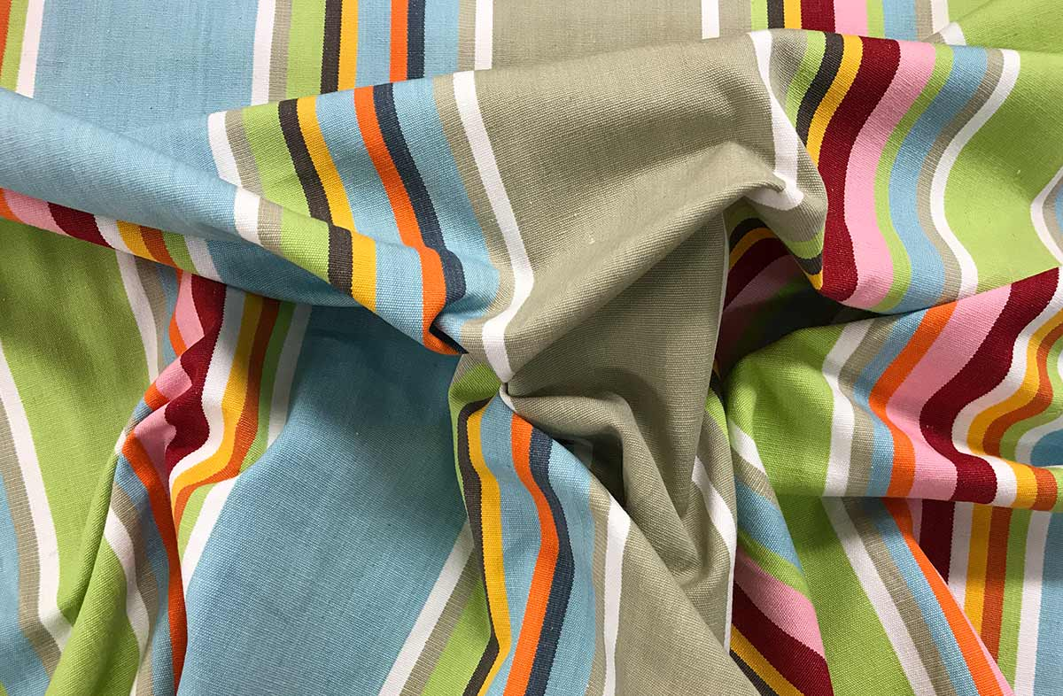 Duck Egg Blue Striped Fabrics - Cricket Stripe
