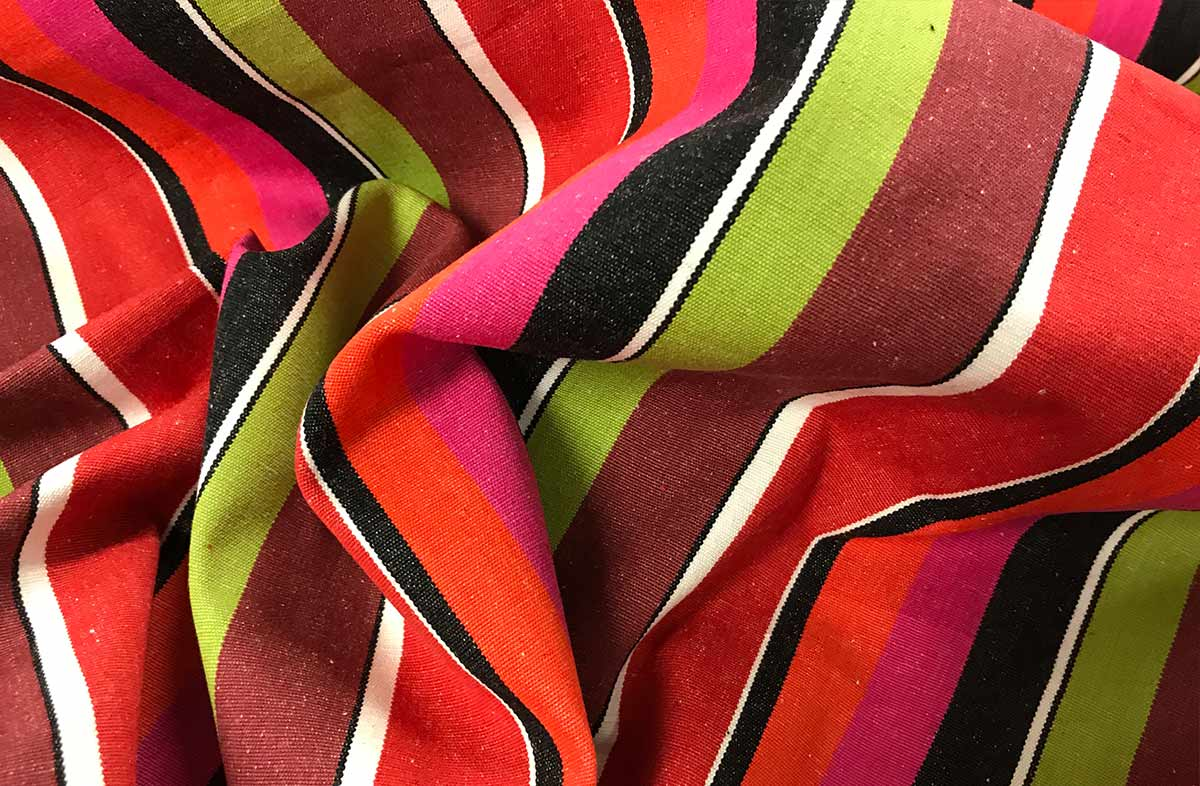 Fuchsia, Coral, Black and Lime Striped Fabric