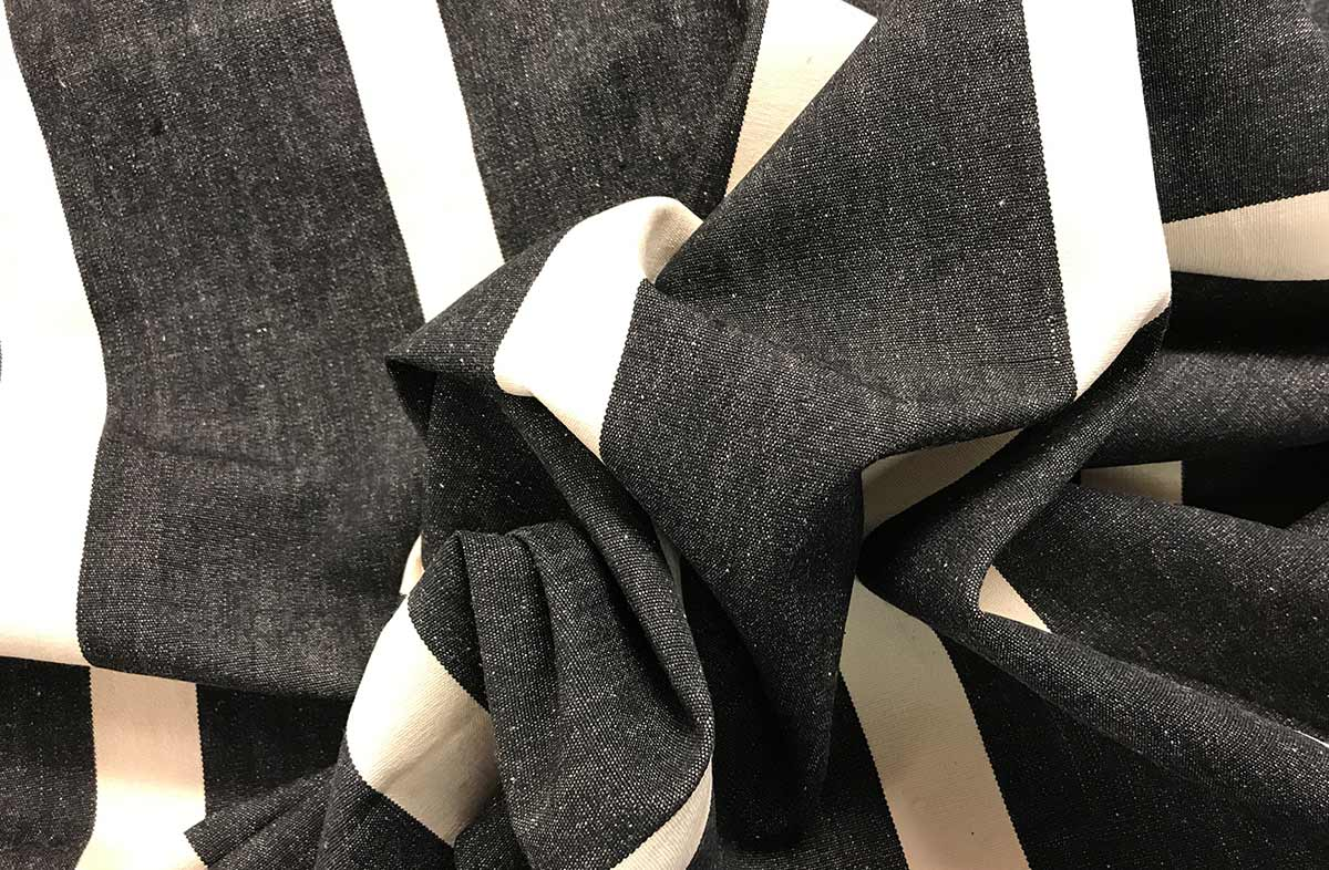 Black and Ivory Striped Fabric