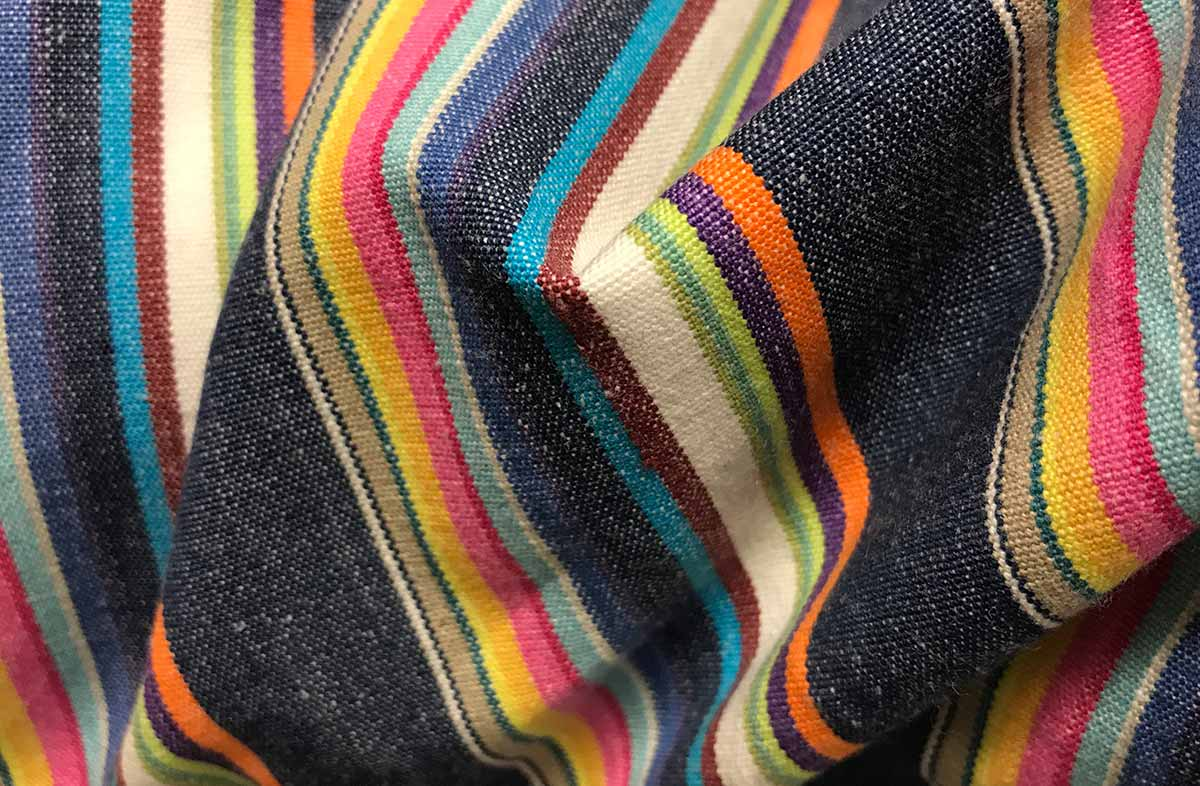 Navy Blue Striped Fabric with Rainbow Coloured Stripes