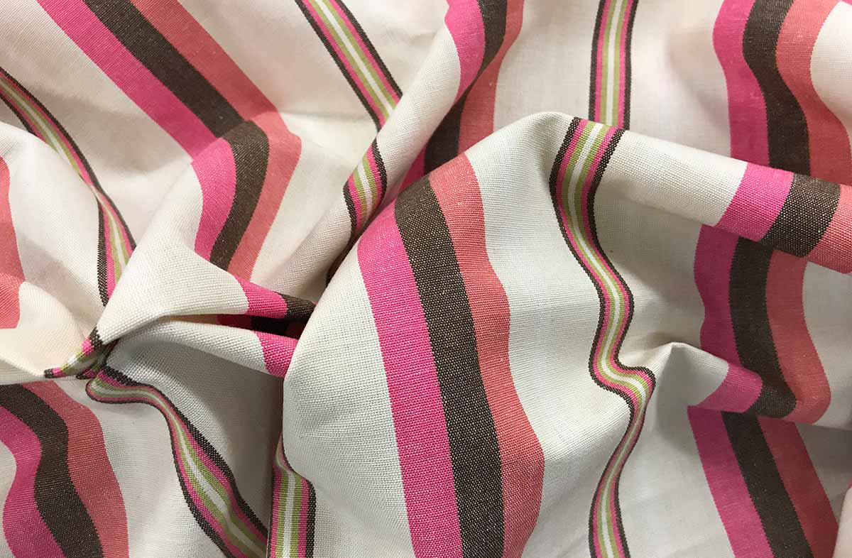 Pink and Cream Striped Fabric 100% cotton 145cm wide