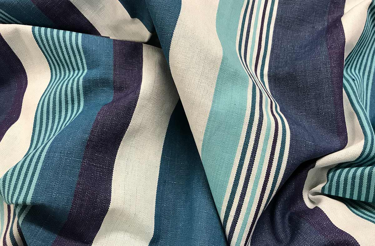Teal Striped Fabrics - Stripe Cotton Curtain Upholstery Fabrics - Swing Stripes