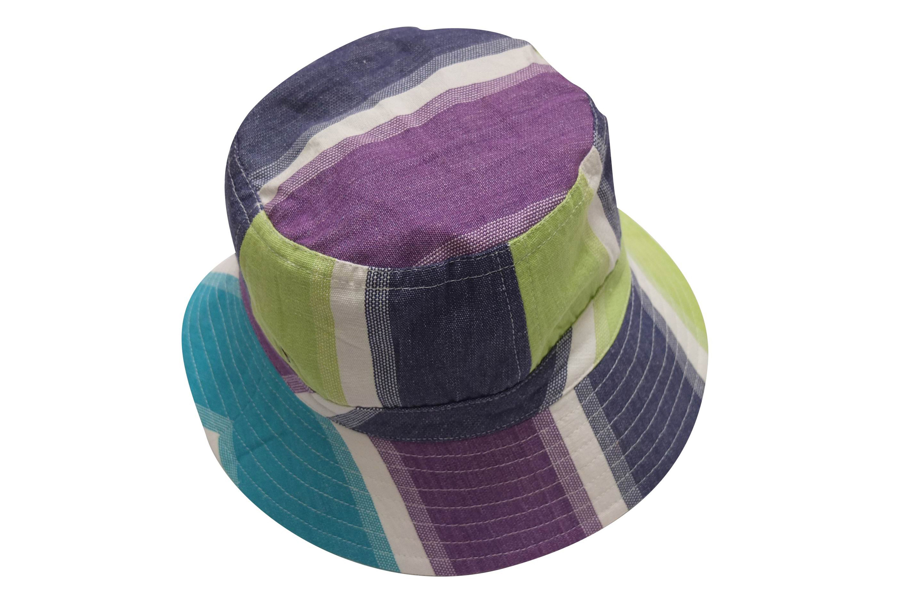 Fishing Striped Sun Hats | Bucket Hat Lime Green, Turquoise, White Stripes