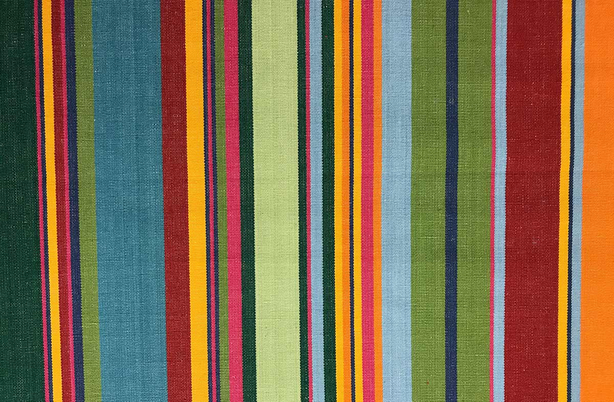 Green Red Striped Oilcloth Fabric | Wipeable Stripe Fabrics