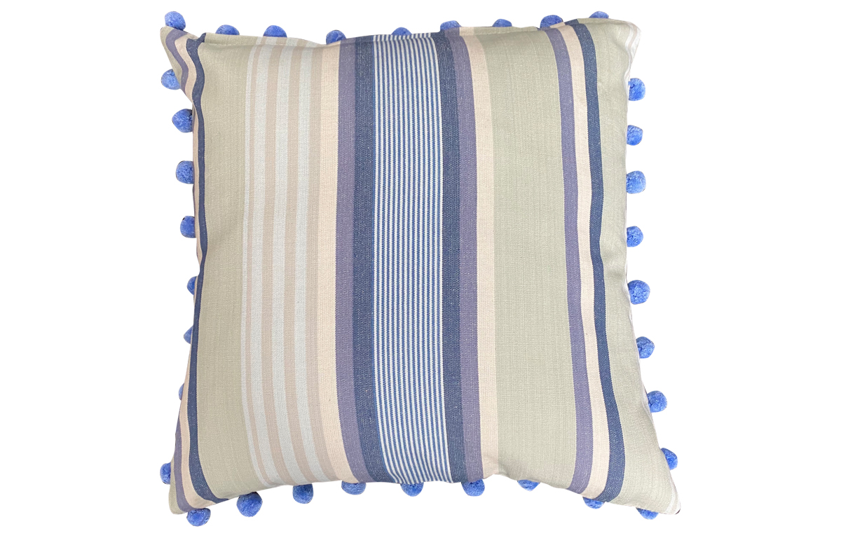 Pale Mint green, Denim and Cream Striped Pompom Cushion 50x50cm