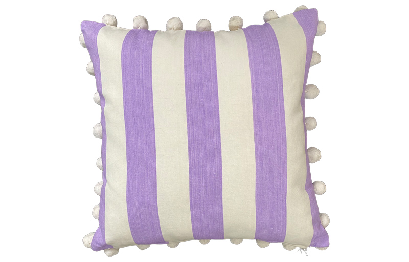 Lilac and Ivory Striped Pompom Cushion 50x50cm