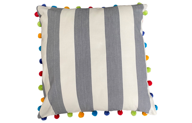 Charcoal Grey and White Stripe Pompom Cushion 50x50cm