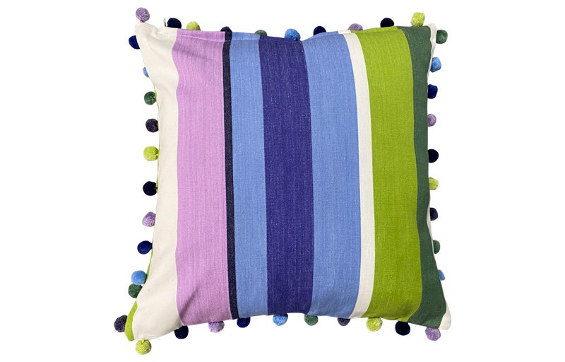 Green, Blue and Purple Striped Pompom 50x50cm Cushion