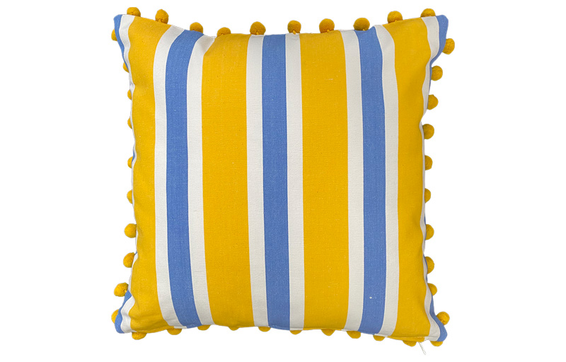 Yellow, Sky Blue and White Striped Pompom Cushions 50x50cm