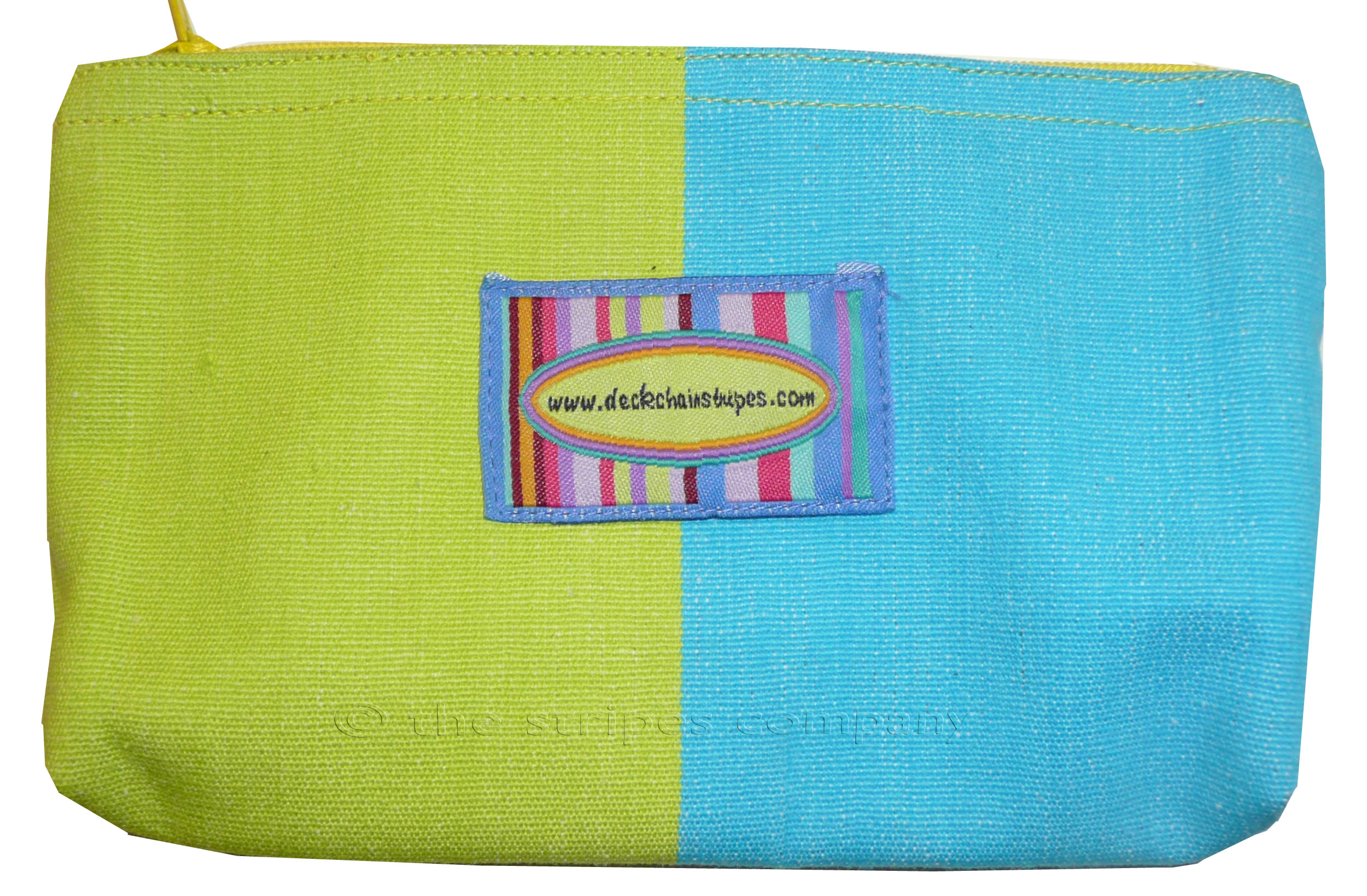Turquoise and Green Striped Purses | Small Zipped Bags | Cosmetic Bags