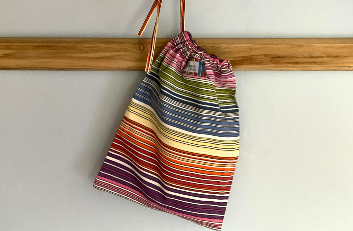 Rainbow Stripe Drawstring Shoe Bags