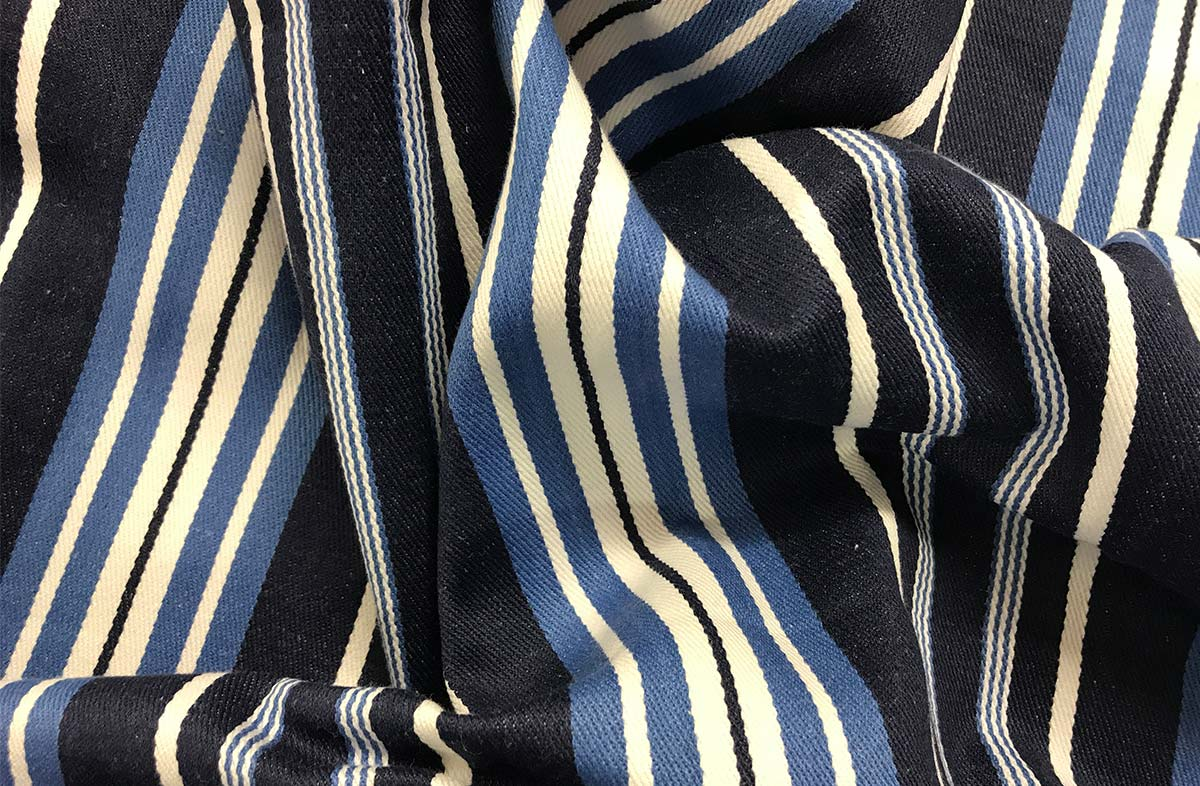 Navy, airforce blue and white ticking striped fabric