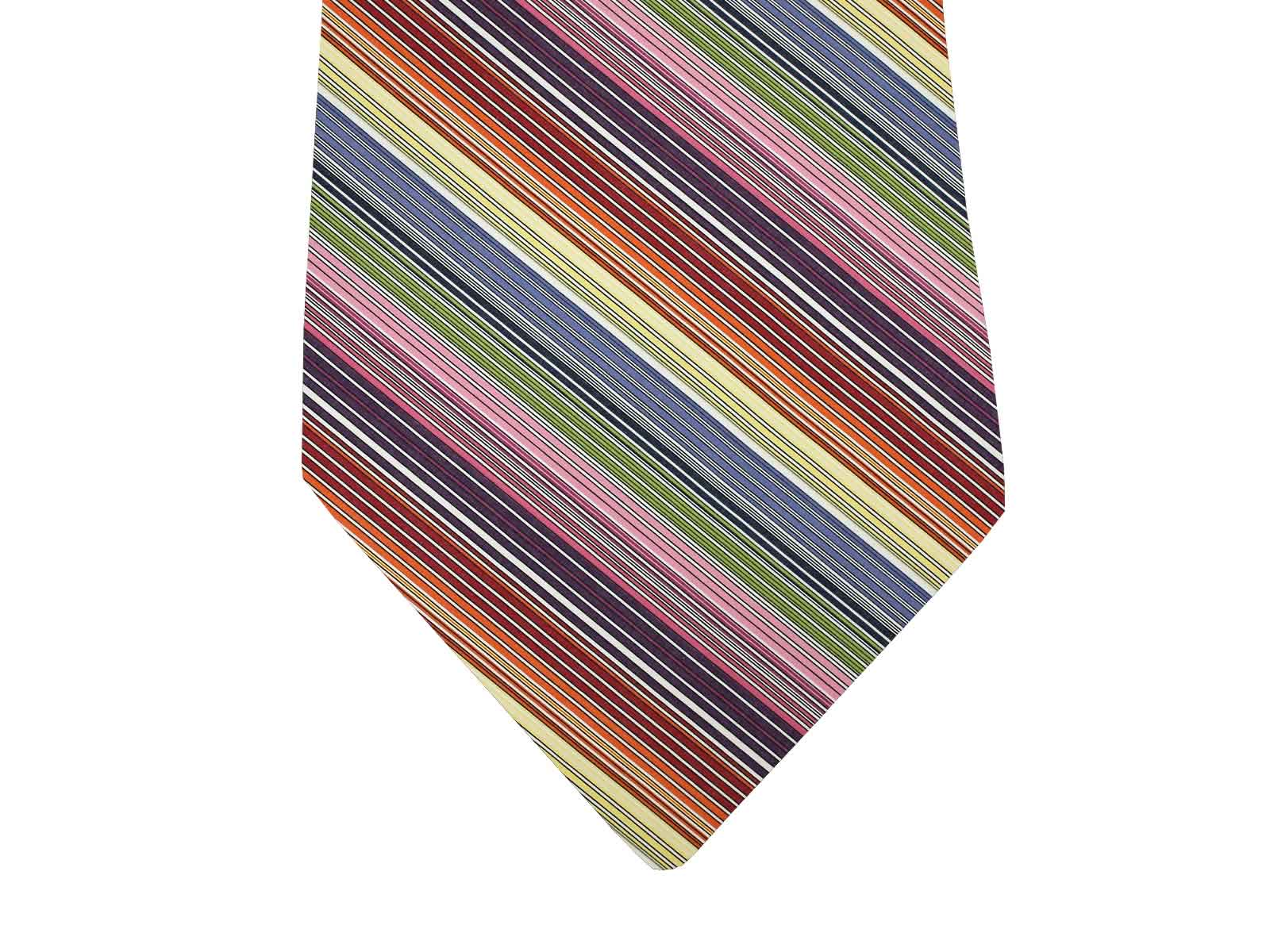 Striped Tie with narrow rainbowstripes, white
