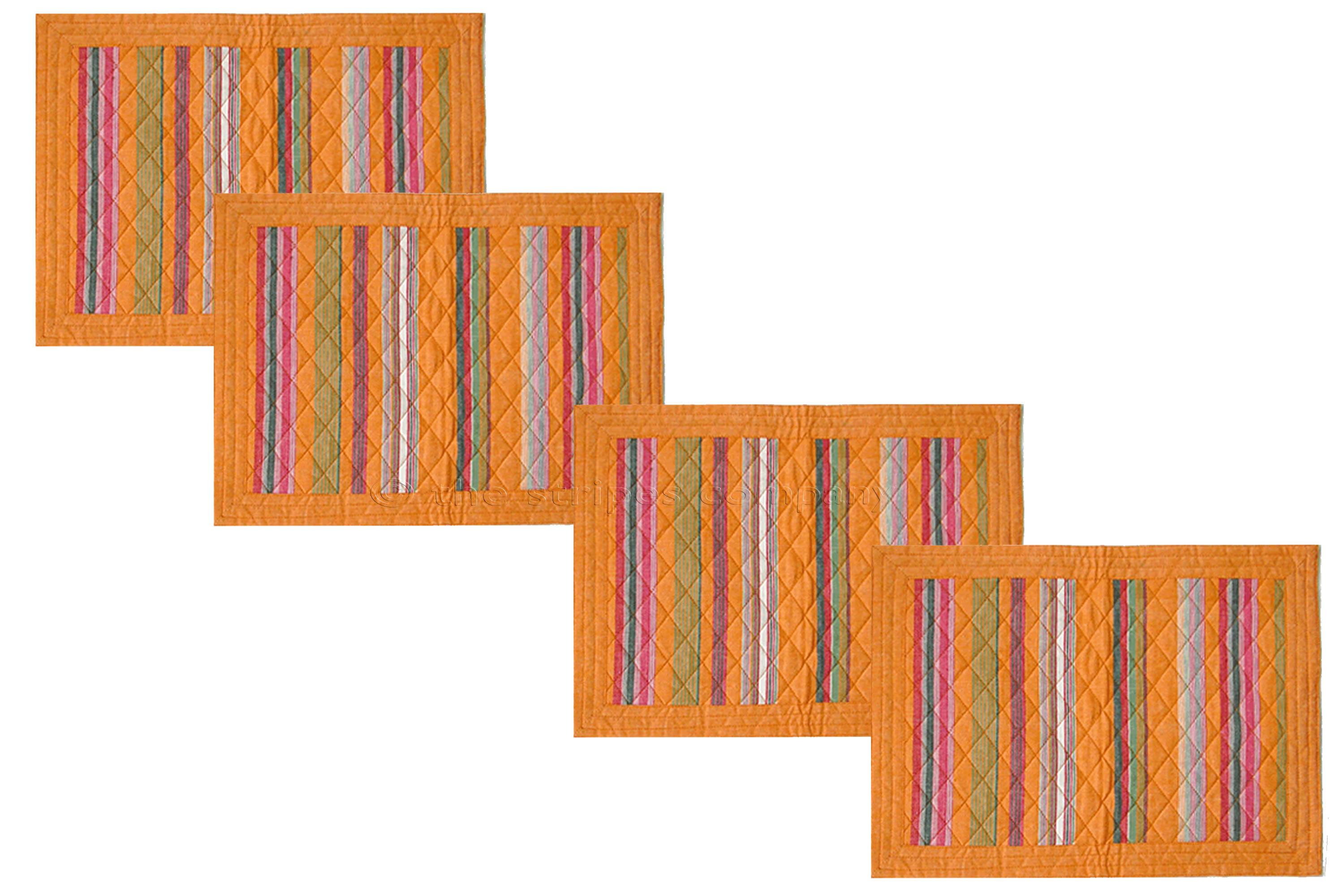 Orange Striped Place Mats - Set of four orange stripe table mats