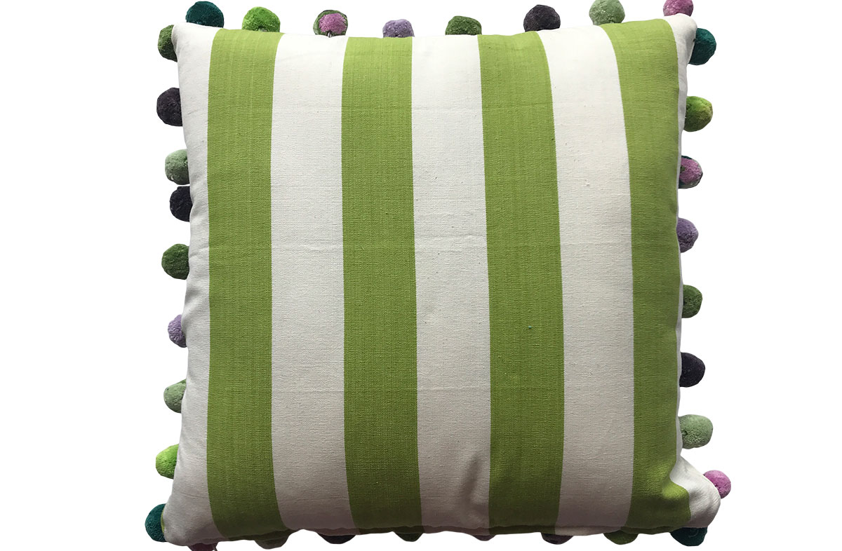 Lime Green and White Striped Pompom Cushions 50x50cm