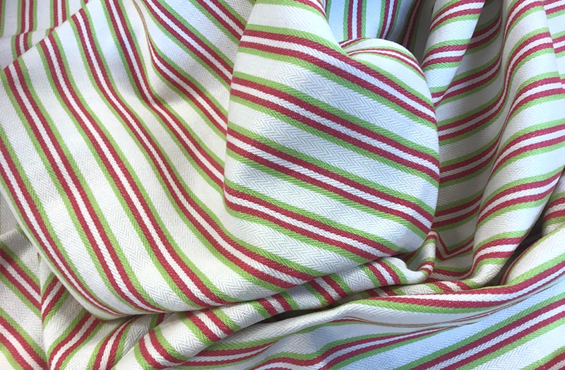 Pink, Lime Green Stripe On Cream Ticking Fabric