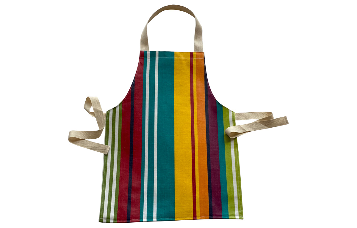 Turquoise Stripe Toddlers Aprons - Striped Aprons For Small Children Turquoise  Green  Red  Stripes