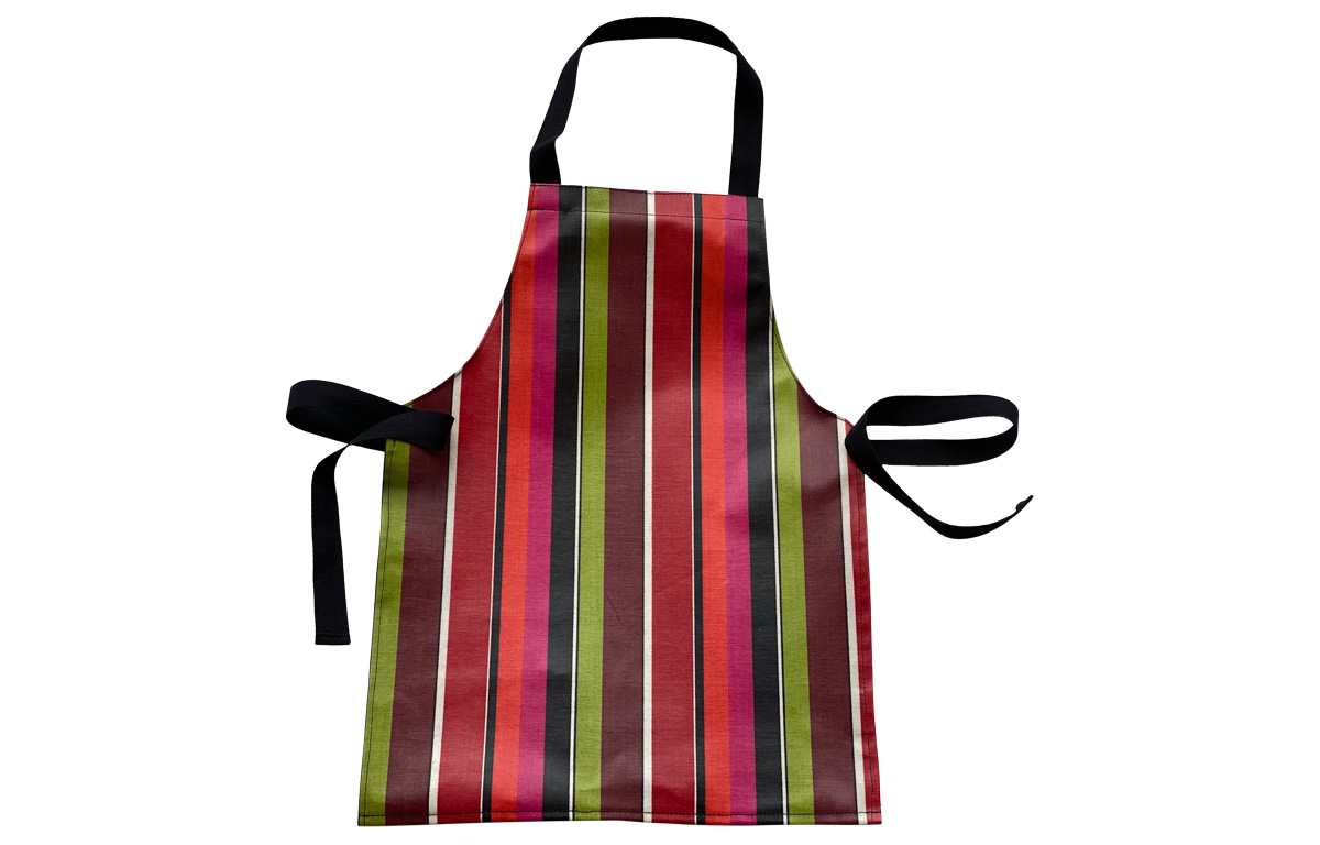 Pink, Black, Lime Stripe PVC Oilcloth Toddlers Aprons
