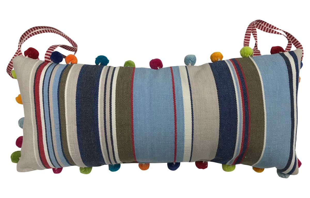Trapeze Deckchair Headrest Cushion | Tie on Pompom Headrest pale blue, light beige, royal blue