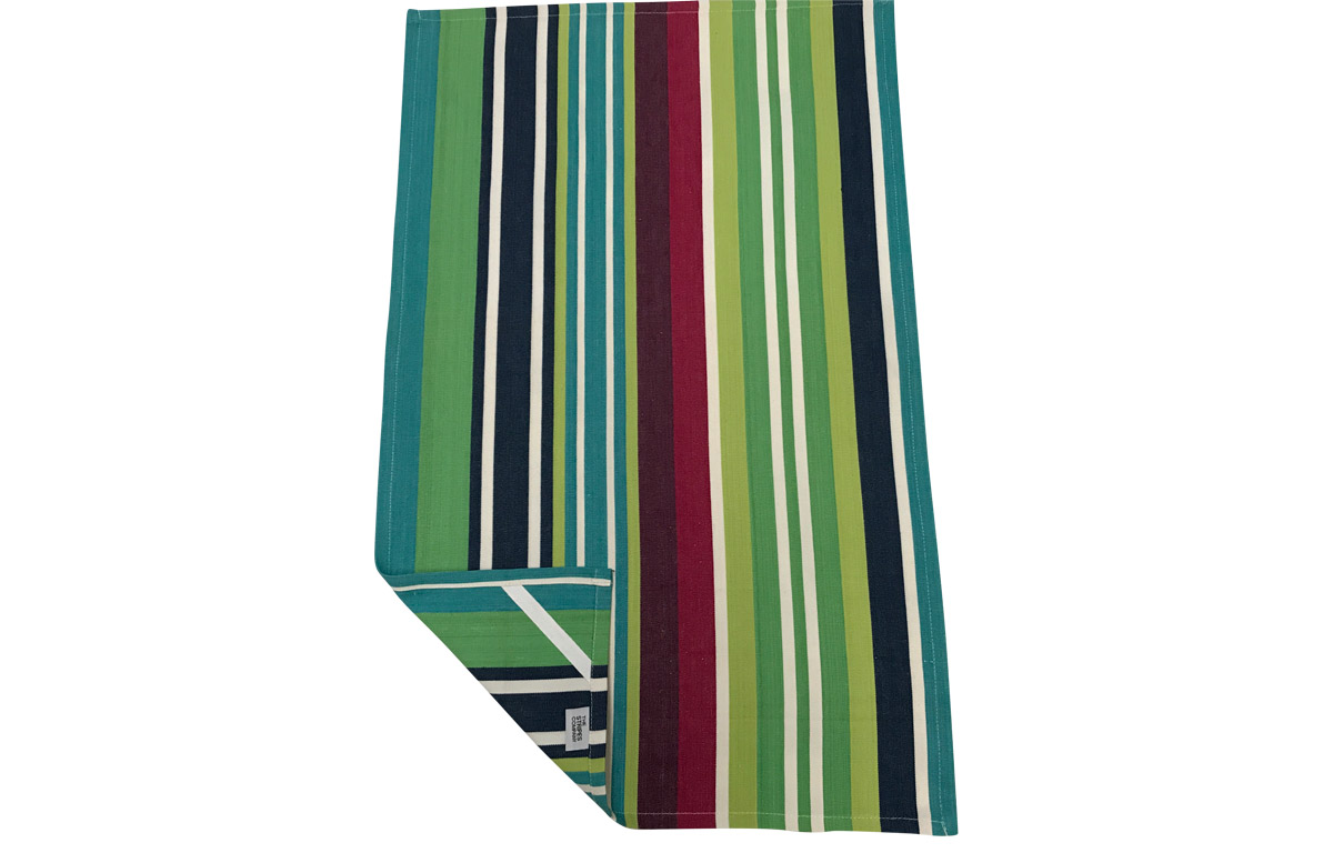 Navy Blue, Lime Green Striped Tea Towels  - Tug O War Stripe